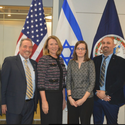 Eliad Peretz NASA (right) Megan Mahle - Department of Homeland Security (2nd from Right) Deborah Lee James – Former Secretary of the Airforce (3rd from Right) Virginia Israel Advisory Board Executive Director Dov Hoch (Left)